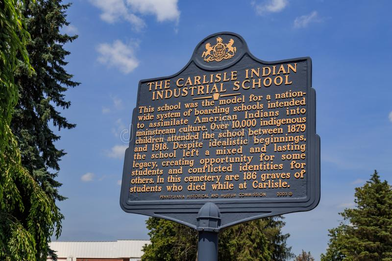 Carlisle Indian Industrial School Historical Marker. Carlisle, PA, USA - June 26, 2016: The Historic Marker at the gravesite of Native Americans that attended stock image
