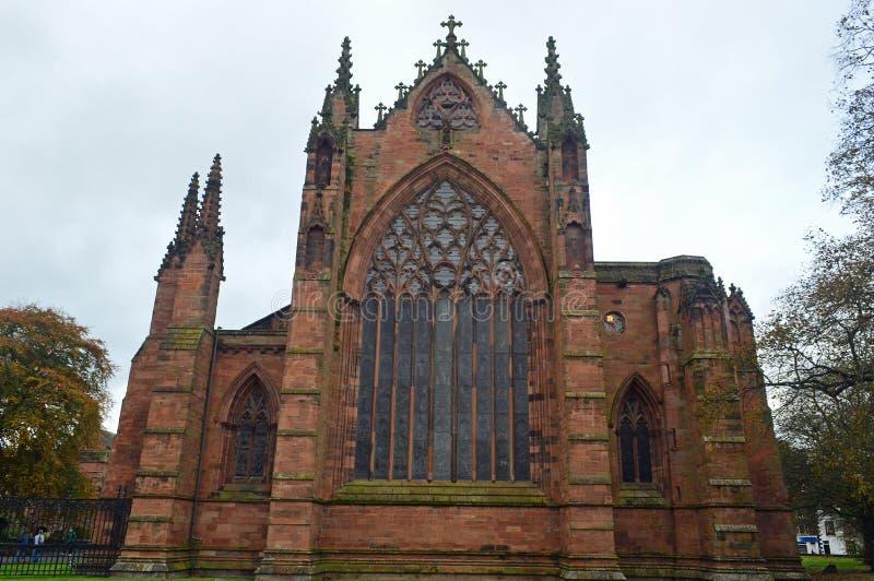 Carlisle katedry i wschodu okno Zewnętrzny widok zdjęcia royalty free