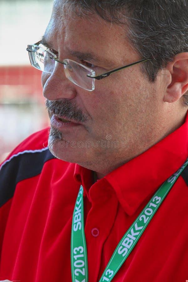 Carlo Fiorani con el Superbike WSBK de Pata Honda World Superbike Team imagen de archivo
