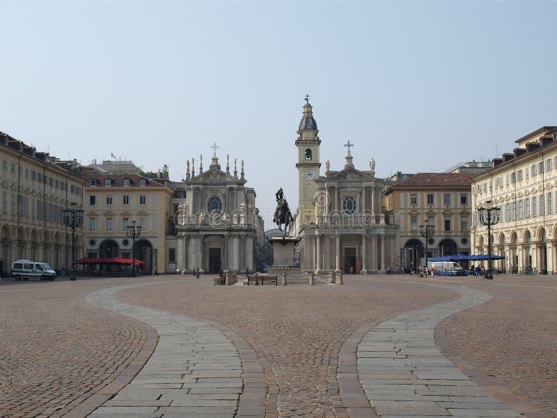 carlo piazza san turin royaltyfri foto