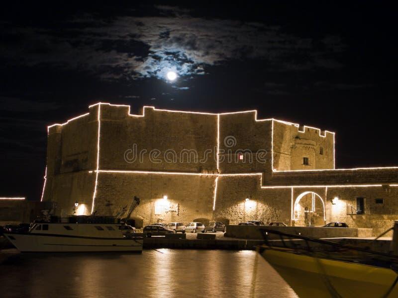 Carlo V Castle by night. Monopoli. Apulia. stock images