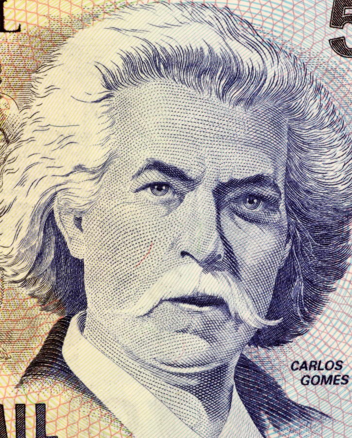 Carlos Gomes. On 5000 Cruzerios 1993 Banknote from Brazil. One of the most distinguished 19th century classical composers royalty free stock image