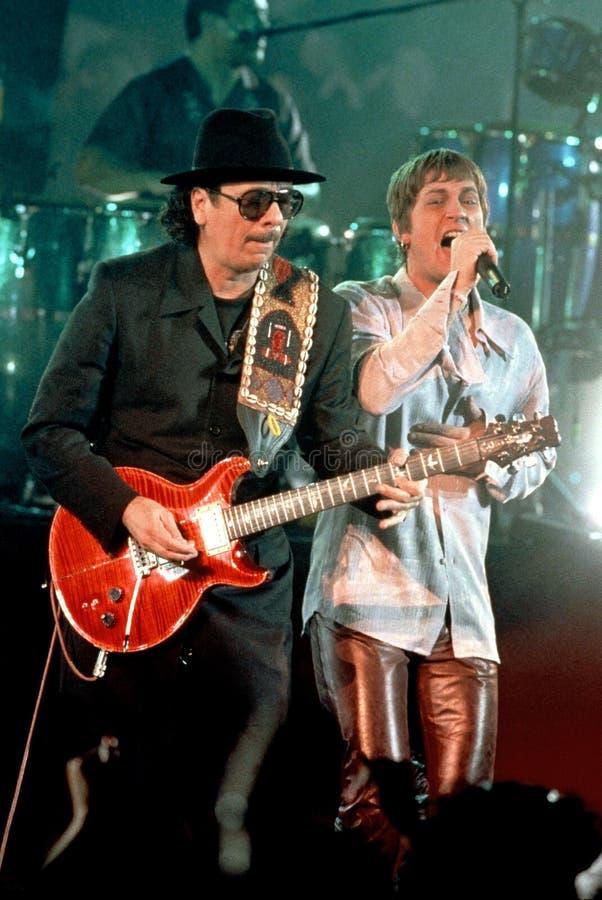 Carlos Santana and Rob Thomas. Guitarist Carlos Santana and singer Rob Thomas royalty free stock images