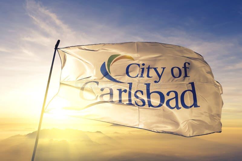 Carlsbad of California of United States flag waving on the top. Carlsbad of California of United States flag waving royalty free stock images