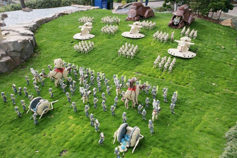 CARLSBAD USA, CIRCA 2014: Nabo av Starwars planlade med den Lego nollan royaltyfria bilder