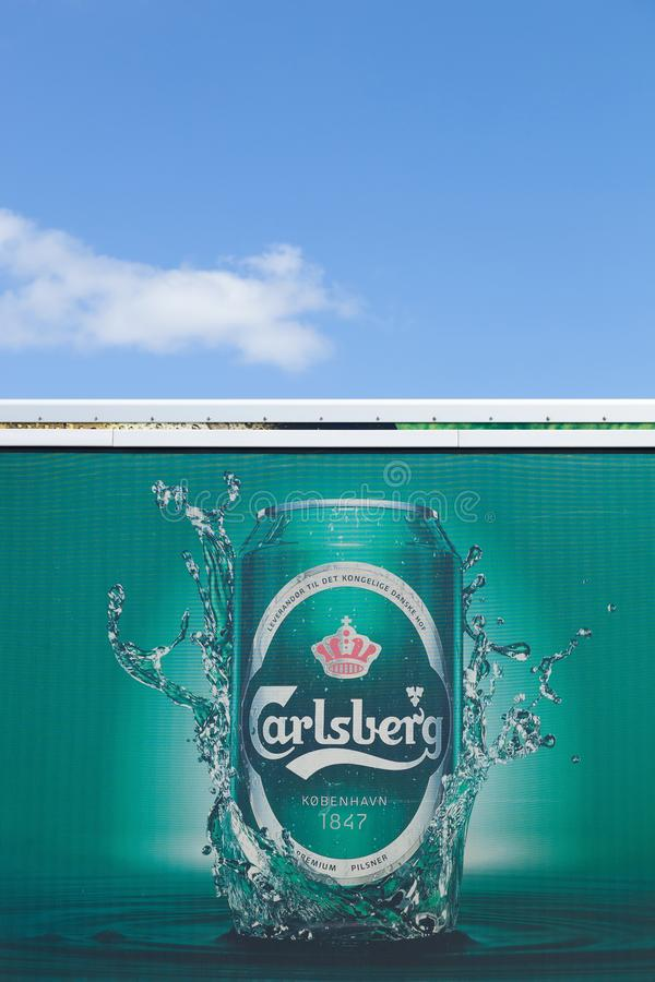 Carlsberg logo on a truck. Aarhus, Denmark - August 12, 2015: Carlsberg logo on a truck. The Carlsberg Group is a Danish brewing company founded in 1847 by J. C royalty free stock photography