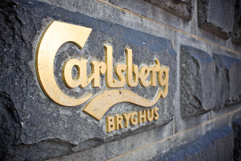 Carlsberg signage. COPENHAGEN DENMARK - may 2015: Carlberg's sign at his historic brewery in Copenhagen stock image