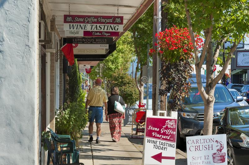 Carlton City In Yamhill County Wine Country. Carlton, Oregon,USA - September 12, 2015:People walk the sidewalk in downtown Carlton, Oregon during the annual wine royalty free stock images