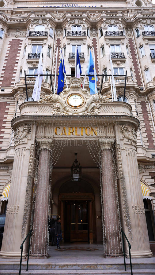 Carlton continental inter en Cannes, riviera francesa fotos de archivo libres de regalías