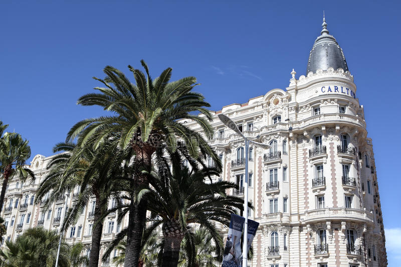 Carlton Międzynarodowy hotel, Cannes croisette France fotografia stock