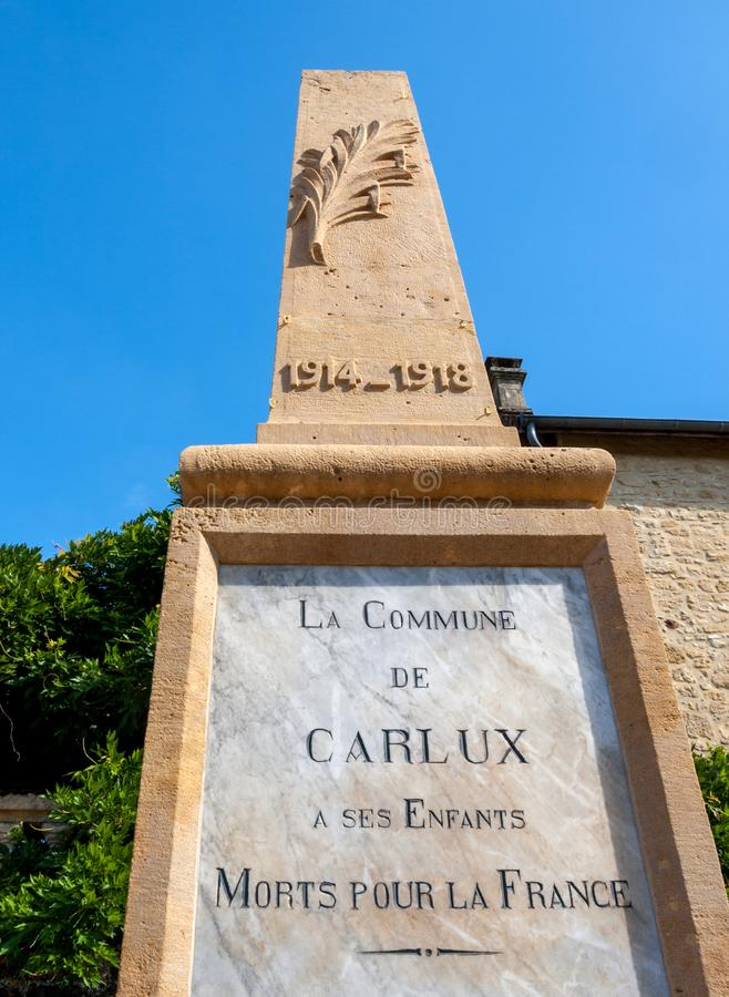 Monument to the victims of the First World War in Carlux. Dordogne valley, Aquitaine,  France royalty free stock photo