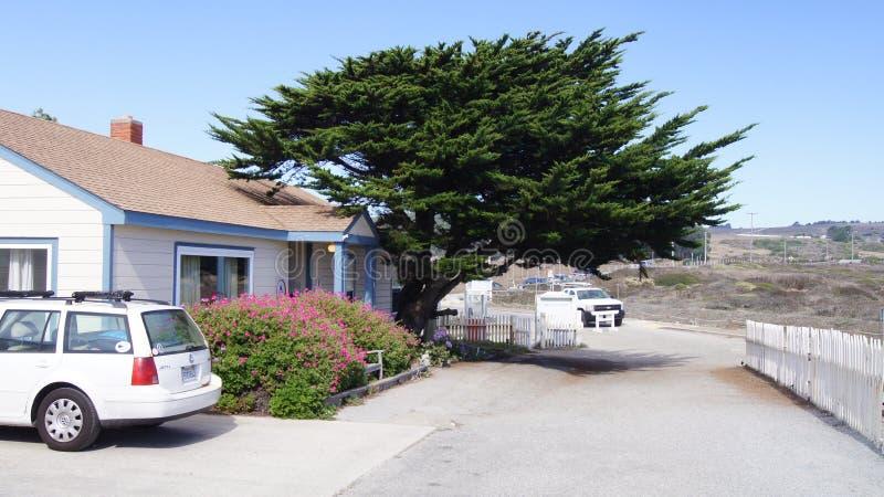 CARMEL,加利福尼亚,美国- 2014年10月6日:美丽的赛普里斯、一个白色房子和汽车沿著名太平洋海岸 库存照片