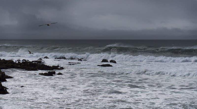 Carmel beach on a stormy day stock image