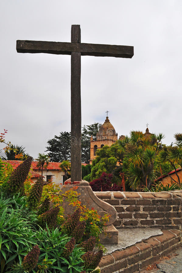Free Carmel By The Sea, Mission, Mission San Carlos Borromeo, Catholicism, Garden, Flowers, California, Church, Architecture, Cross Stock Photography - 71917672