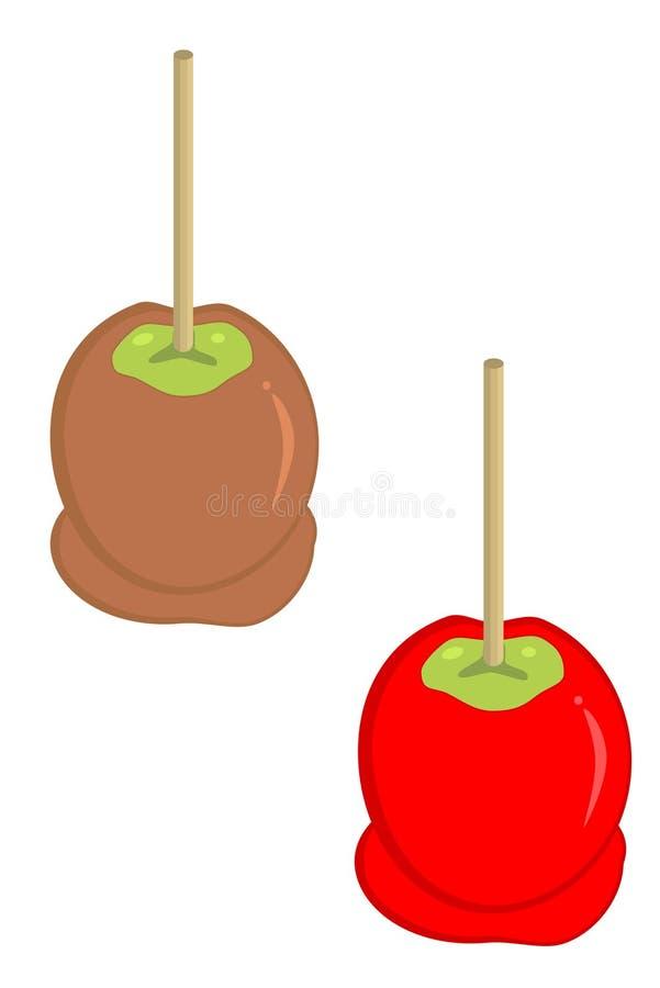 Carmel und Süßigkeitäpfel vektor abbildung