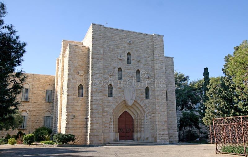 Carmelite kloster på Mount Carmel i Haifa arkivbild