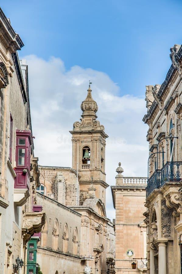 Carmelite kyrka i Mdina, Malta arkivbilder