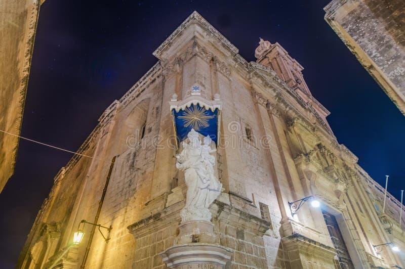 Carmelite kyrka i Mdina, Malta arkivbild