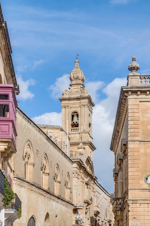 Carmelite kyrka i Mdina, Malta arkivfoton
