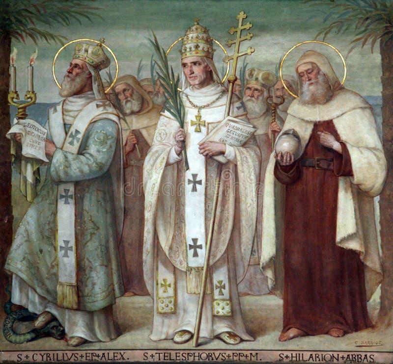 Carmelite Saints. Saint Cyril, Telesphorus and Hilarius, Carmelite Saints, The Church Stella Maris, Haifa, Israel stock photo