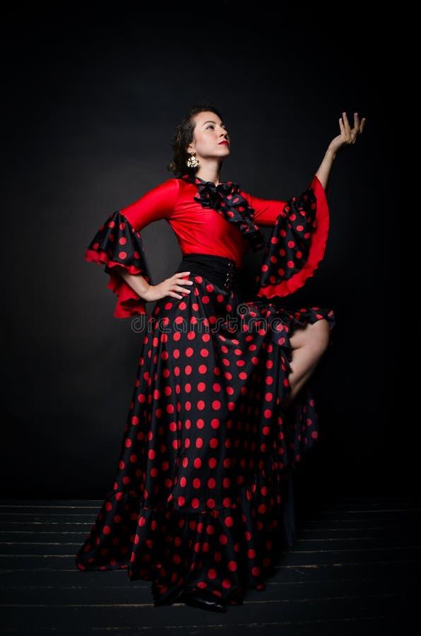 Free Carmen Beautiful Woman In Red Dress On Dark Background Stock Photo - 163109900