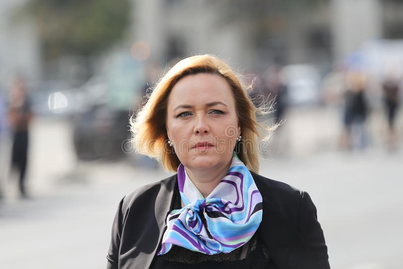 Carmen Dan, Roemeense Binnenlandse Zakenminister stock afbeeldingen
