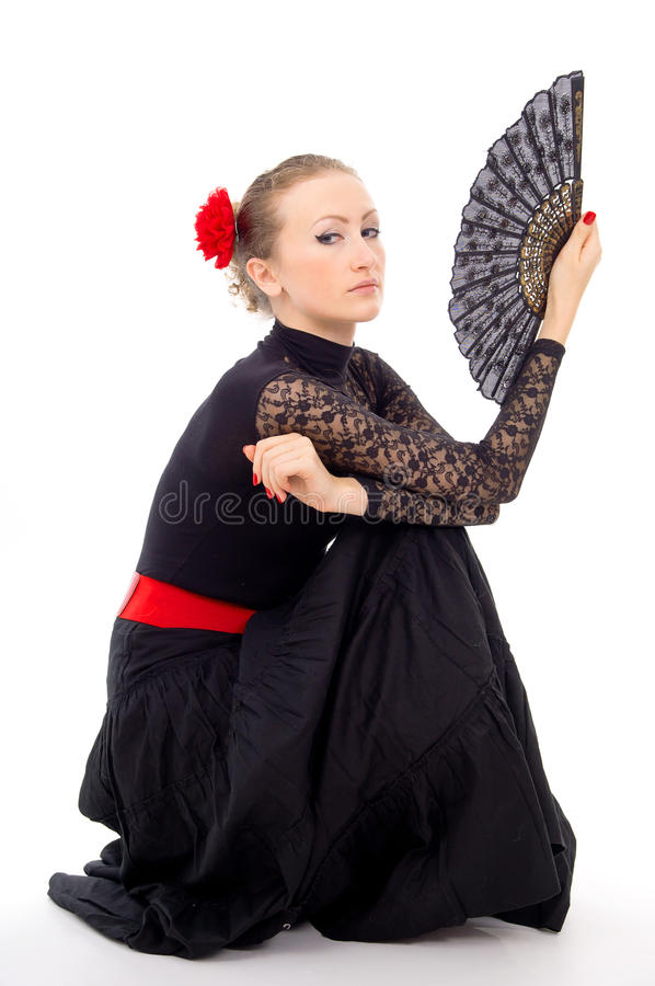 Download Carmen Girl In A Dress And A Fan Stock Image - Image: 27689537