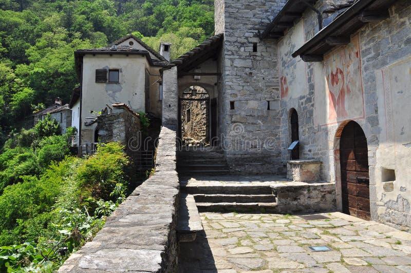 Carmine Superiore village at Lake (lago) Maggiore, Italy. stock images