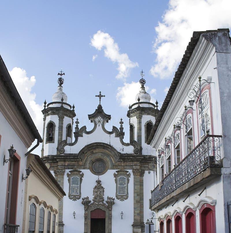 Carmo Church Sao Joao del Rey. The baroque colonial Carmo church in the end of Getulio Vargas street in the historical city of Sao Joao del Rey, Minas Gerais stock photos