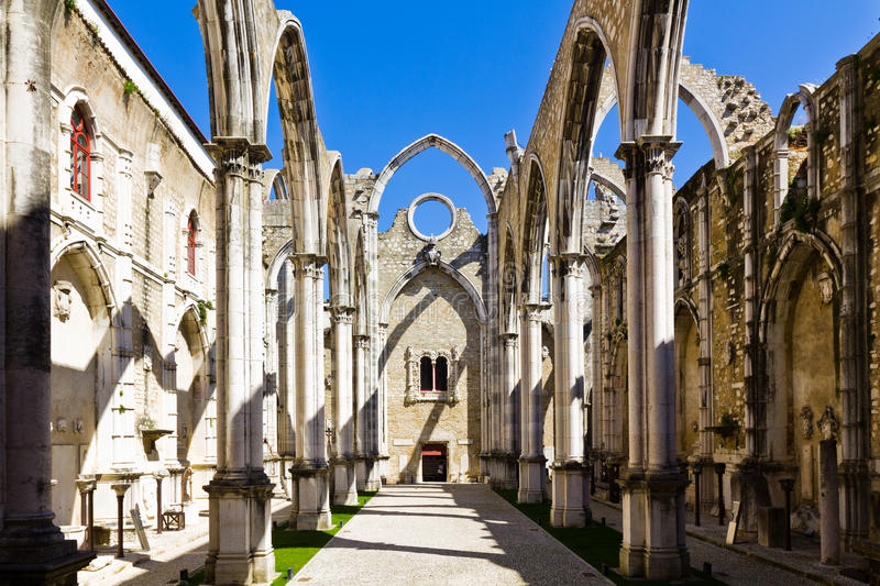 Carmo Convent In Lisbon stock images
