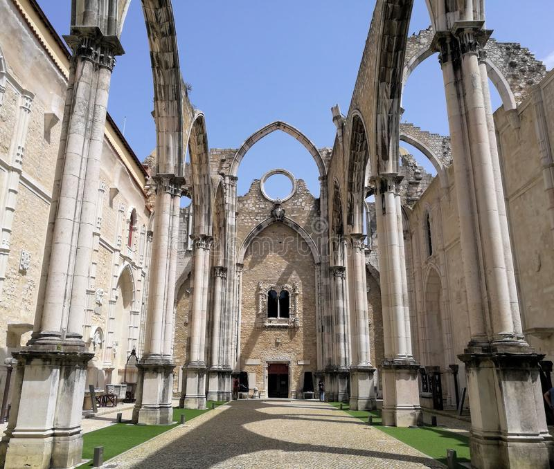 Collapsed ceiling old cathedral in Portugal, Carmo convent stock photo