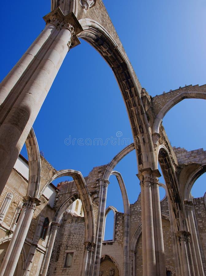 Carmo Ruins in Lissabon royalty-vrije stock foto's
