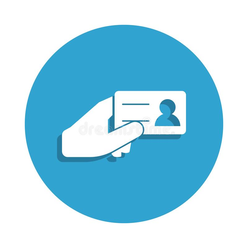 carné de identidad en icono de las manos en estilo de la insignia Uno del icono cibernético de la colección de la seguridad se pu ilustración del vector
