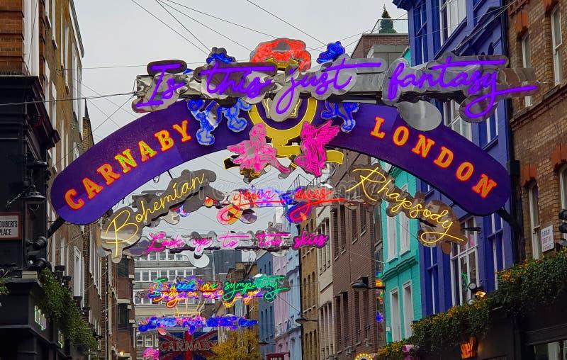 Carnaby街,伦敦,圣诞灯显示 免版税图库摄影