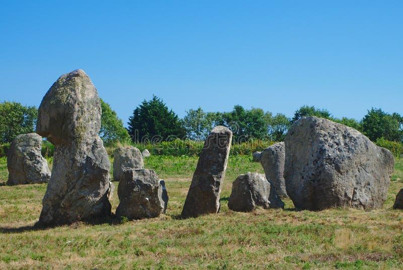 Carnac, alignements des menhirs celtiques image stock