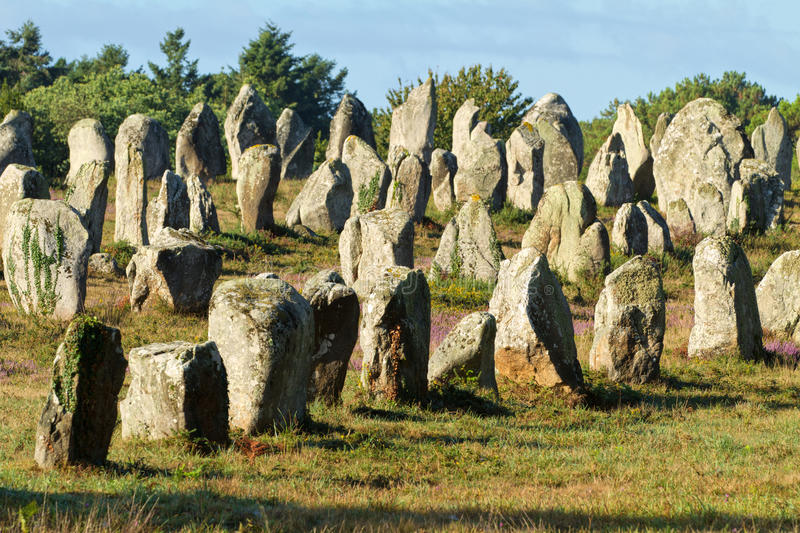 Carnac monoliths. Alignment under morning sunlight in Brittany, france stock photography