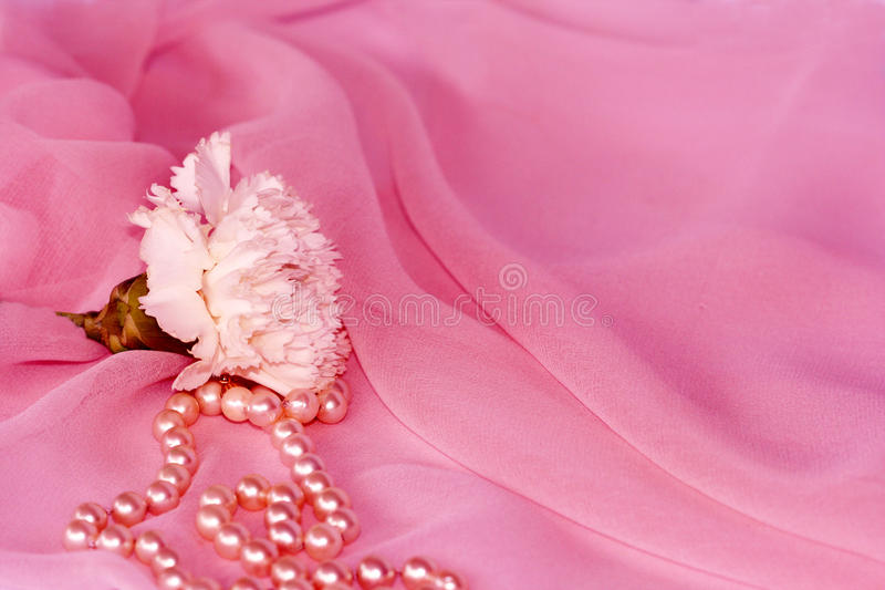 Download Carnation And Pearls On Pink Silk Chiffon Stock Image - Image: 18941989