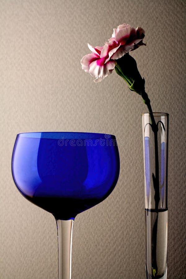 Carnation & Wine Glass royalty free stock photo