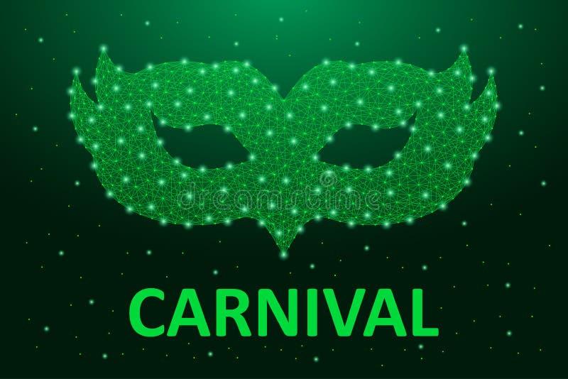 Carnaval面具低落多在绿色 巴西狂欢节狂欢节的假日横幅与多角形wireframe滤网 向量 皇族释放例证