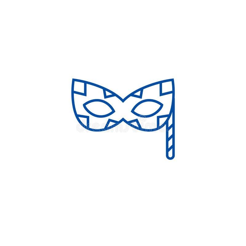 Carnaval面具线象概念 Carnaval面具平的传染媒介标志,标志,概述例证 库存例证