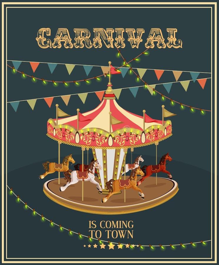 Carnaval-affiche met vrolijk-gaan-rond in uitstekende stijl Carrousel met paarden royalty-vrije illustratie