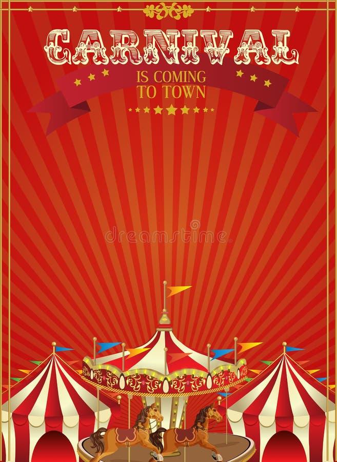 Carnaval-affiche met vrolijk-gaan-rond in uitstekende stijl Carrousel met paarden stock illustratie