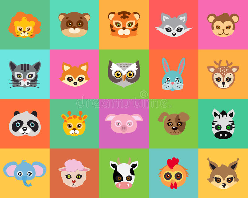 Carnaval animal Collection de masques de bande dessinée illustration de vecteur