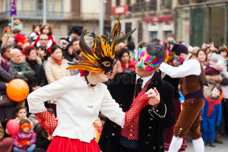 Carnaval-Ballen aan de Populaire Cultuur en de Traditionele Catalaan stock foto's