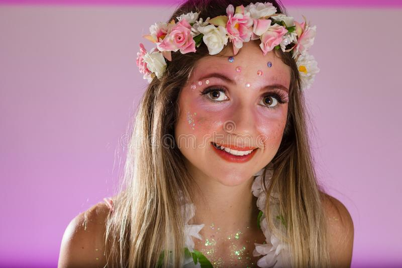 Carnaval Brazil. Face of brazilian blonde woman wearing carnival costume. Bright background. Party concept, celebration and. Carnaval Brazil. Happiness and Joy stock images
