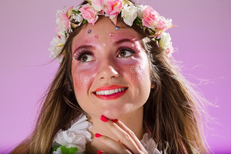 Carnaval Brazil. Portrait of brazilian woman with bright makeup. Colorful background. Carnival concept, fun and party. Carnaval Brazil. Happiness and Joy royalty free stock photo