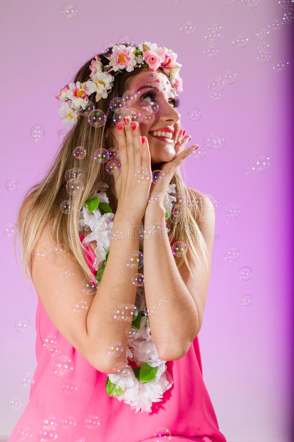 Carnaval Brazil. Portrait of brazilian girl with fun costume. Bright and Colorful. Holiday concept, tradition and costume royalty free stock photos