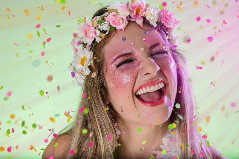 Carnaval Brazil.Excited and Cheerful. Portrait of brazilian woman with bright makeup. Colorful background. Carnival concept, fun stock photo