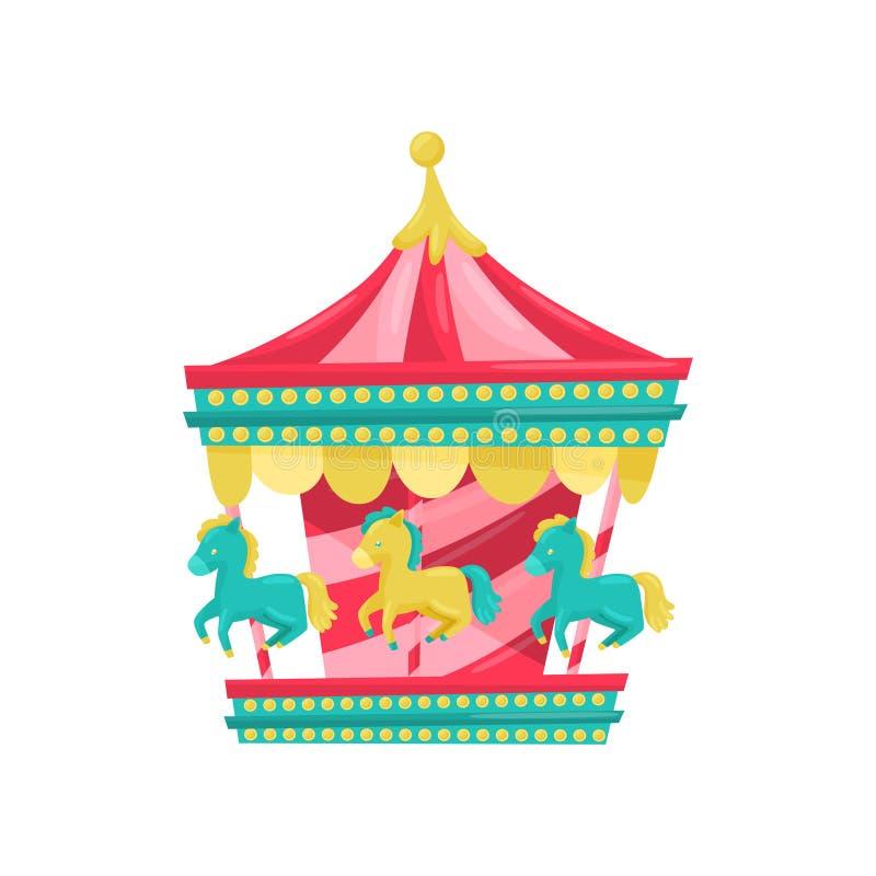 Carnaval-carrousel met paarden Funfairaantrekkelijkheid Pretparkmateriaal Vermaakthema Vlak vectorpictogram royalty-vrije illustratie