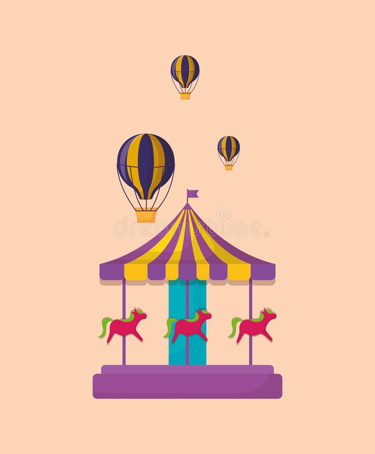 Carnaval-carrouselpictogram vector illustratie